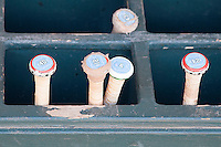 North Carolina Tar Heels bat rack before the NCAA baseball game on March 2nd, 2013 at Minute Maid Park in Houston, Texas. North Carolina defeated Cal 11-5. (Andrew Woolley/Four Seam Images)