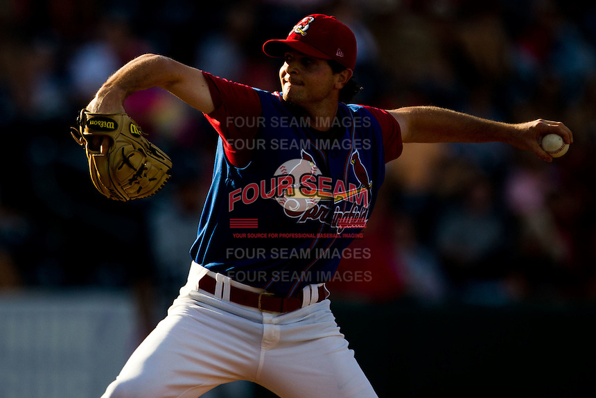 John Gast (16) of the Springfield Cardinals is illuminated by late afternoon light during a game against the Corpus Christi Hooks at Hammons Field on August 13, 2011 in Springfield, Missouri. Springfield defeated Corpus Christi 8-7.  (David Welker / Four Seam Images)