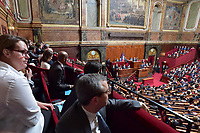 French President Emmanuel Macron is applauded during a special congress gathering both houses of parliament National Assembly and Senate in the palace of Versailles, outside Paris, on July 3, 2017. Lawmakers from the two houses are usually called together only in times of national crisis, but Macron has convened the session, which he plans to make an annual event, to lay out his vision and priorities two months after his election.<br /> # EMMANUEL MACRON REUNI LE CONGRES A VERSAILLES