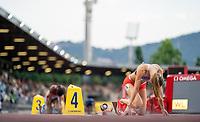 10th June 2021; Stadio Luigi Ridolfi, Florence, Tuscany, Italy; Muller Diamond League Grand Prix Athletics, Florence and Rome; Femke Bol (Neth) in the start blocks before winning the women's 400m hurdles