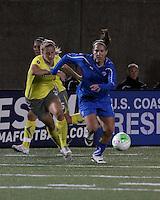 Philadelphia Independence defender Allison Falk (3) pursues Boston Breakers forward Lauren Cheney(8) as she moved down the field.  The Boston Breakers tied the Philadelphia Independence, 1-1, at Harvard Stadium on April 18.2010