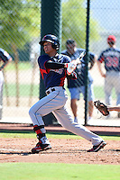 Cleveland Indians infielder Yu-Cheng Chang (9) during an Instructional League game against the Seattle Mariners on October 1, 2014 at Goodyear Training Complex in Goodyear, Arizona.  (Mike Janes/Four Seam Images)