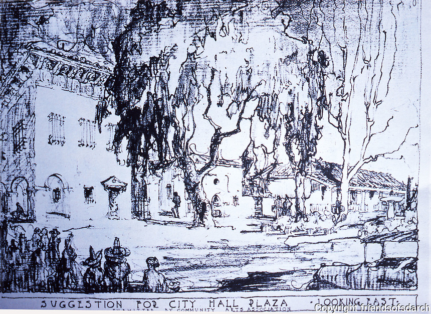 Sketch for City Hall Plaza by Community Arts Association--looking east.  Dec. 1987.