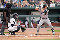 Landon Stephens (23) of the Augusta GreenJackets in a game against the Columbia Fireflies on Tuesday, May 25, 2021, at Segra Park in Columbia, South Carolina.  The catcher is Kale Emshoff (21) and the umpire is Tre Jester. (Tom Priddy/Four Seam Images)