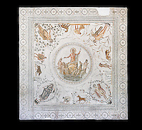 Roman mosaic panel of the Triumph of Neptune and  the mytrhical legend of The Four Seasons. From the private baths at Caput Vada (La Chebbs). End of the reign of Antoninus Pius, 138-161 AD. From Cheba, Tunisia.  The Thugga Room of The Bardo Museum, Tunis, Tunisia. Black background