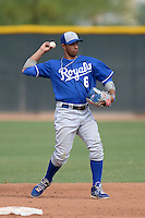 Kansas City Royals second baseman Ramon Torres (6) during an Instructional League game against the Texas Rangers on October 9, 2013 at Surprise Stadium Training Complex in Surprise, Arizona.  (Mike Janes/Four Seam Images)