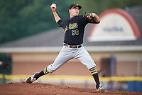 West Virginia Black Bears starting pitcher Beau Sulser (58) delivers a pitch during a game against the Batavia Muckdogs on August 7, 2017 at Dwyer Stadium in Batavia, New York.  West Virginia defeated Batavia 6-3.  (Mike Janes/Four Seam Images)