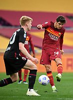 Football, Serie A: AS Roma - Bologna, Olympic stadium, Rome, April 11, 2021. <br /> Roma's Gonzalo Villar (r) in action with Bologna's Jerdy Schouten (l) during the Italian Serie A football match between AS Roma and Bologna at Rome's Olympic stadium, Rome, on April 11, 2021.  <br /> UPDATE IMAGES PRESS/Isabella Bonotto