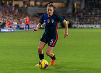 ORLANDO, FL - MARCH 05: Kelley O'Hara #5 of the United States dribbles during a game between England and USWNT at Exploria Stadium on March 05, 2020 in Orlando, Florida.