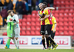 St Johnstone v Partick Thistle…29.10.16..  McDiarmid Park   SPFL<br />Abdul Osman celebrates at full time with Chris Erskine<br />Picture by Graeme Hart.<br />Copyright Perthshire Picture Agency<br />Tel: 01738 623350  Mobile: 07990 594431