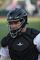 Keinner Piña (4) of the Inland Empire 66ers catches in the bullpen before a game against the Lake Elsinore Storm at San Manuel Stadium on June 15,<br /> 2021 in San Bernardino, California. (Larry Goren/Four Seam Images)