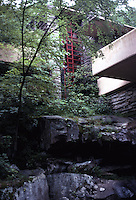 F.L. Wright: Fallingwater. Balcony from creek.  Photo '76.