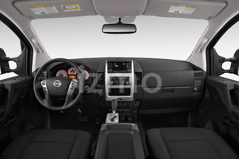 Stock photo of straight dashboard view of a 2014 Nissan Titan PRO 4-X King Cab 2WD 2 Door Truck Dashboard