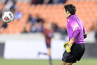 Houston, TX - Friday December 9, 2016: Stanford Cardinal Goalkeeper, Andrew Epstein (1) watches the ball before grabbing it against the North Carolina Tar Heels at the NCAA Men's Soccer Semifinals at BBVA Compass Stadium in Houston Texas.