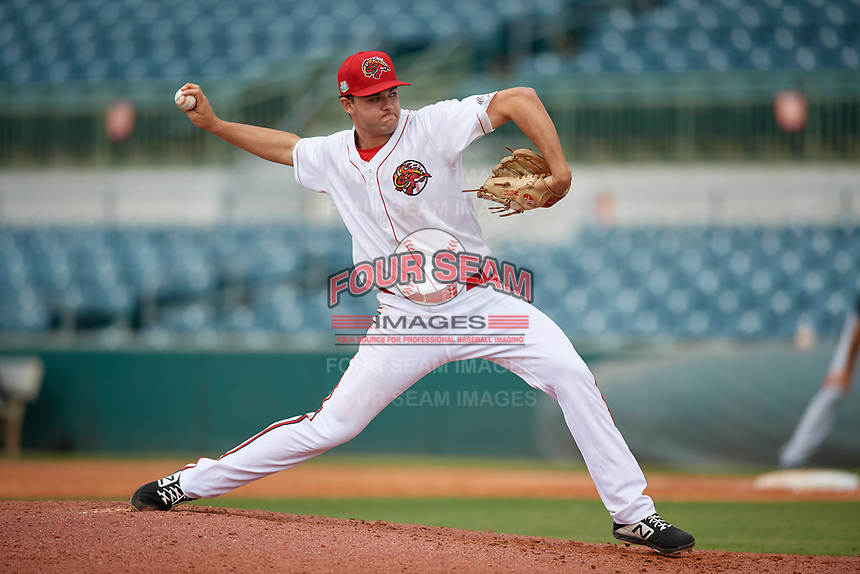 Florida Fire Frogs starting pitcher Keith Weisenberg (24) during a Florida State League game against the Jupiter Hammerheads on April 8, 2019 at Osceola County Stadium in Kissimmee, Florida.  Florida defeated Jupiter 7-6 in ten innings.  (Mike Janes/Four Seam Images)