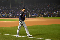 Cleveland Indians Tyler Naquin (30) walks to the outfield to warmup before Game 4 of the Major League Baseball World Series against the Chicago Cubs on October 29, 2016 at Wrigley Field in Chicago, Illinois.  (Mike Janes/Four Seam Images)