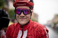 breakaway rider of this soaking stage, Louis Vervaeke (BEL/Sunweb) post-finish <br /> <br /> Stage 5: Frascati to Terracina (140km)<br /> 102nd Giro d'Italia 2019<br /> <br /> ©kramon
