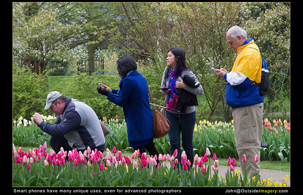 """Netherlands, Keukenhof Gardens.  <br /> I began using and teaching smart phone photography or iPhoneography long ago. It's perfect for social media and travel. Now, everybody loves photography, then texting.<br /> Smart phones also provide lots of information or """"Details"""" attached to each image. Maybe too much info?"""