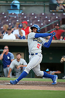 Victor Roache (12) of the Rancho Cucamonga Quakes bats against the Inland Empire 66ers at San Manuel Stadium on July 9, 2017 in San Bernardino, California. Inland Empire defeated Rancho Cucamonga 12-2. (Larry Goren/Four Seam Images)
