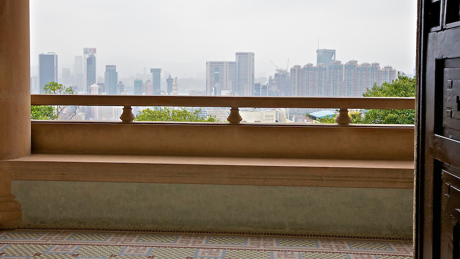 A hazy view from the first floor balcony.
