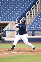 Tyrone Perry (64) of the AZL Brewers bats during a game against the AZL Athletics at Maryvale Baseball Park on June 30, 2015 in Phoenix, Arizona. Brewers defeated Athletics, 4-2. (Larry Goren/Four Seam Images)