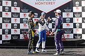 #51: Romain Grosjean, Dale Coyne Racing with RWR Honda, podium, champagne, #26: Colton Herta, Andretti Autosport w/ Curb-Agajanian Honda, #10: Alex Palou, Chip Ganassi Racing Honda