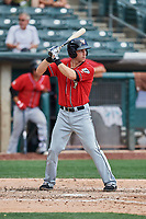 Dusty Coleman (9) of the El Paso Chihuahuas bats against the Salt Lake Bees at Smith's Ballpark on July 8, 2018 in Salt Lake City, Utah. El Paso defeated Salt Lake 15-6. (Stephen Smith/Four Seam Images)