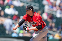 Indianapolis Indians starting pitcher Casey Sadler (45) follows through on his delivery against the Charlotte Knights at BB&T BallPark on June 21, 2015 in Charlotte, North Carolina.  The Knights defeated the Indians 13-1.  (Brian Westerholt/Four Seam Images)