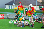 Shane Conway, Kerry in action against Gary Bennett, Carlow during the Joe McDonagh hurling cup fourth round match between Kerry and Carlow at Austin Stack Park on Saturday.