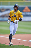 Jake Gatewood (8) of the Salt Lake Bees rounds the bases during the game against the Las Vegas Aviators at Smith's Ballpark on June 27, 2021 in Salt Lake City, Utah. The Aviators defeated the Bees 5-3. (Stephen Smith/Four Seam Images)