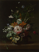 Full title: Flowers in a Vase<br /> Artist: Rachel Ruysch<br /> Date made: about 1685<br /> Source: http://www.nationalgalleryimages.co.uk/<br /> Contact: picture.library@nationalgallery.co.uk<br /> <br /> Copyright © The National Gallery, London