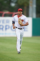 Florida Fire Frogs left fielder Jared James (19) jogs back to the dugout during a game against the Daytona Tortugas on April 7, 2018 at Osceola County Stadium in Kissimmee, Florida.  Daytona defeated Florida 4-3.  (Mike Janes/Four Seam Images)