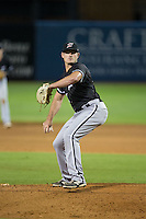 Kannapolis Intimidators relief pitcher Dylan Barrow (17) in action against the Greensboro Grasshoppers at NewBridge Bank Park on July 7, 2016 in Greensboro, North Carolina.  The Dash defeated the Pelicans 13-9.  (Brian Westerholt/Four Seam Images)