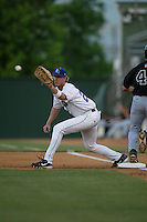 Zach Cates of the Rancho Cucamonga Quakes catches a throw to first base during a 2004 season California League game at The Epicenter in Rancho Cucamonga, California. (Larry Goren/Four Seam Images)
