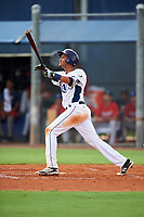 GCL Rays third baseman Carlos Vargas (25) flies out during the second game of a doubleheader against the GCL Twins on July 18, 2017 at Charlotte Sports Park in Port Charlotte, Florida.  GCL Twins defeated the GCL Rays 4-2 after the game was postponed in the second inning to the following day at Charlotte Sports Park in Port Charlotte, Florida.  (Mike Janes/Four Seam Images)