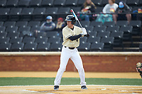 DJ Poteet (4) of the Wake Forest Demon Deacons at bat against the Notre Dame Fighting Irish at David F. Couch Ballpark on March 10, 2019 in  Winston-Salem, North Carolina. The Demon Deacons defeated the Fighting Irish 7-4 in game one of a double-header.  (Brian Westerholt/Four Seam Images)