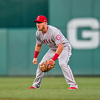 15 August 2017: Los Angeles Angels infielder Cliff Pennington in action against the Washington Nationals at Nationals Park in Washington, DC. The Nationals defeated the Angels 3-1 in the first game of their 2-game series. Mandatory Credit: Ed Wolfstein Photo *** RAW (NEF) Image File Available ***