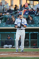 Seth Brown (4) of the Stockton Ports bats against the Lancaster JetHawks at The Hanger on May 12, 2017 in Lancaster, California. Lancaster defeated Stockton, 7-2. (Larry Goren/Four Seam Images)