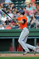Infielder Matthew Duffy (2) of the Augusta GreenJackets bats in a game against the Greenville Drive on Thursday, May 9, 2013, at Fluor Field at the West End in Greenville, South Carolina. Augusta won, 6-3. (Tom Priddy/Four Seam Images)