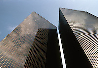 Philip Johnson: Pennzoil Place, Houston. Looking up at twin towers. Milam St. side (east side). Photo '80.