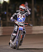 Davey Watt of Lakeside Hammers acknowledges the fans after winning Heat 8  - Lakeside Hammers vs Leicester Lions, Elite League Speedway at the Arena Essex Raceway, Pufleet - 04/04/14 - MANDATORY CREDIT: Rob Newell/TGSPHOTO - Self billing applies where appropriate - 0845 094 6026 - contact@tgsphoto.co.uk - NO UNPAID USE