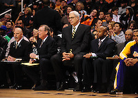 Dec. 28, 2009; Phoenix, AZ, USA; Los Angeles Lakers staff (from left) athletic trainer Gary Vitti , coach Frank Hamblen , head coach Phil Jackson , coach Brian Shaw and coach Jim Cleamons on the bench against the Phoenix Suns at the US Airways Center. The Suns defeated the Lakers 118-103. Mandatory Credit: Mark J. Rebilas-