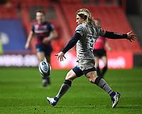 5th February 2021; Ashton Gate Stadium, Bristol, England; Premiership Rugby Union, Bristol Bears versus Sale Sharks; Fas De Klerk of Sale Sharks kicks to touch