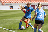 SANDY, UT - JULY 26: Kayla Sharples #28 of Chicago Red Stars plays for the ball during a game between Chicago Red Stars and Houston Dash during the NWSL Challenge Cup Championship held at Rio Tinto Stadium on July 26, 2020 in Sandy, Utah.