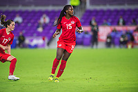 ORLANDO, FL - FEBRUARY 21: Nichelle Prince #15 of the CANWNT defends the ball during a game between Argentina and Canada at Exploria Stadium on February 21, 2021 in Orlando, Florida.