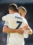 Cristiano Ronaldo of Real Madrid celebrates with teammate Karim Benzema during their La Liga match between Real Madrid and Granada CF at the Santiago Bernabeu Stadium on 07 January 2017 in Madrid, Spain. Photo by Diego Gonzalez Souto / Power Sport Images