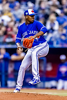 25 March 2019: Toronto Blue Jays top prospect pitcher Elvis Luciano on the mound in the 3rd inning of an exhibition game against the Milwaukee Brewers at Olympic Stadium in Montreal, Quebec, Canada. The Brewers defeated the Blue Jays 10-5 in the first of two MLB pre-season games in the former home of the Montreal Expos. Mandatory Credit: Ed Wolfstein Photo *** RAW (NEF) Image File Available ***