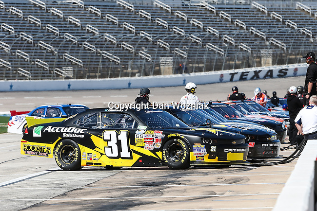Nationwide Series driver Justin Allgaier (31) and others in action during the NASCAR Nationwide Series qualifying at Texas Motor Speedway in Fort Worth,Texas.