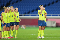 YOKOHAMA, JAPAN - AUGUST 6: Team Sweden dejected at the penalty shoot-out during a game between Canada and Sweden at International Stadium Yokohama on August 6, 2021 in Yokohama, Japan.
