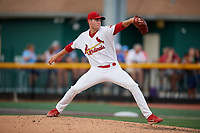 Johnson City Cardinals starting pitcher Kyle Leahy (33) delivers a pitch during a game against the Danville Braves on July 28, 2018 at TVA Credit Union Ballpark in Johnson City, Tennessee.  Danville defeated Johnson City 7-4.  (Mike Janes/Four Seam Images)